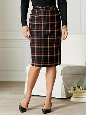 Worsted Flannel Plaid Pencil Skirt