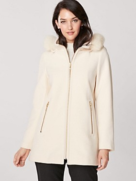 Zip Coat With Fox Fur Hood
