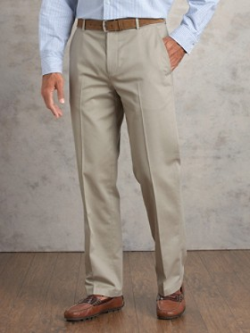 Plain-front Chinos