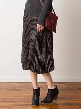 Olene Pleated Silk Skirt