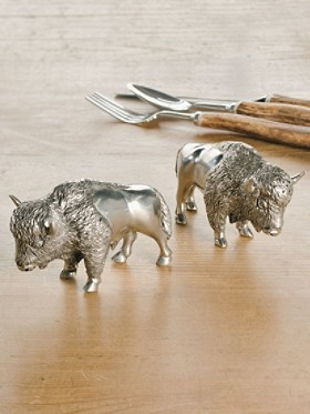 Pewter Bison Salt And Pepper Shakers