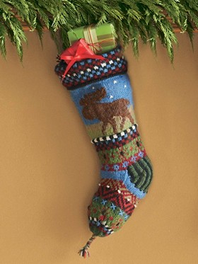 Handknit Intarsia Wool Stocking