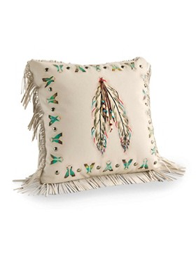 Tepee And Feather Pillow