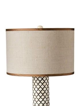 Natural/chocolate Linen/silk Drum Shade