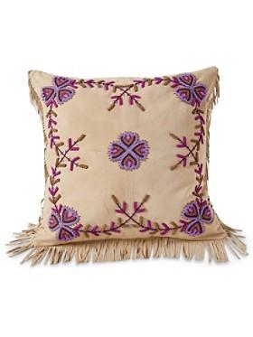 Beaded Poppy Flower Pillow