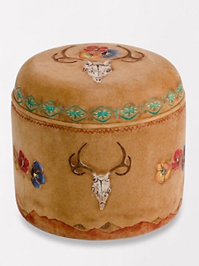 Deer Skull And Poppies Ottoman