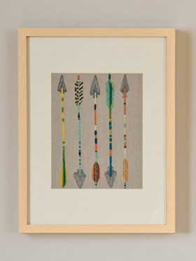 Five Arrows Framed Stitched Artwork