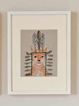 Fox Portrait Framed Stitched Artwork