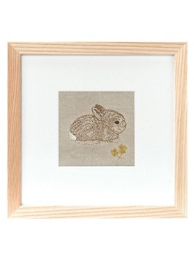 Bunny And Clover Framed Stitched Artwork