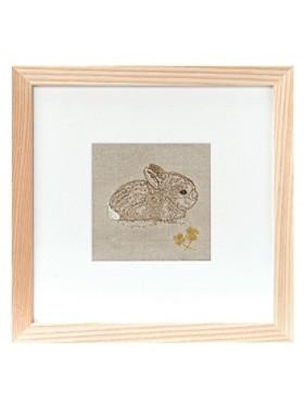 Bunny And Clover Framed Stitched Artwork