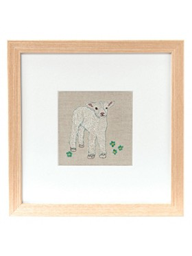 Lamb And Flowers Framed Stitched Artwork