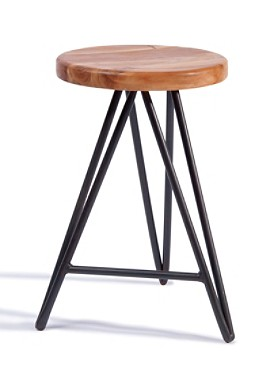 "24"" Hairpin Wood Stool"