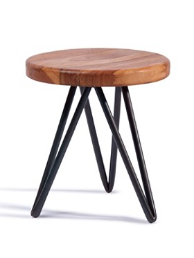 "16"" Hairpin Wood Stool"