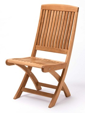 Teak Folding Side Chairs, Set Of 2