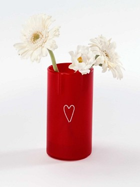 Red Heart Sketch Vase