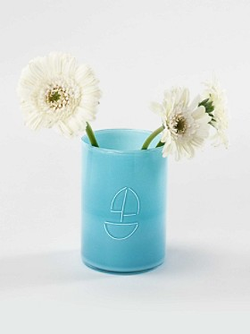 Turquoise Sailboat Sketch Vase