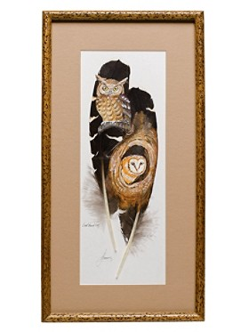 Two Owls On Feather Framed Art