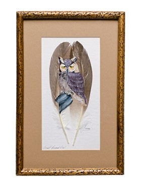 Great Horned Owl On Feather Framed Art