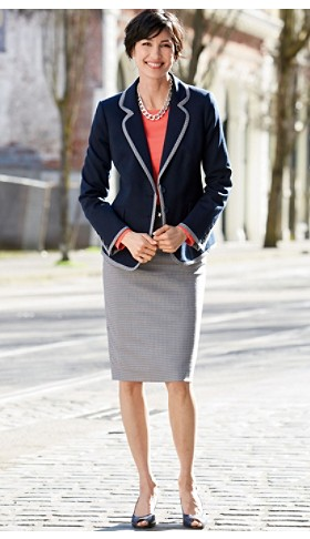 Ultra 9 Trimmed Blazer And Pencil Skirt