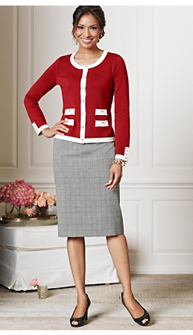 Gold-button Cardigan And Seasonless Wool Skirt