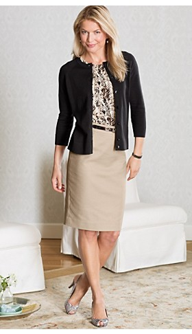 Cotton Cardigan And Pencil Skirt