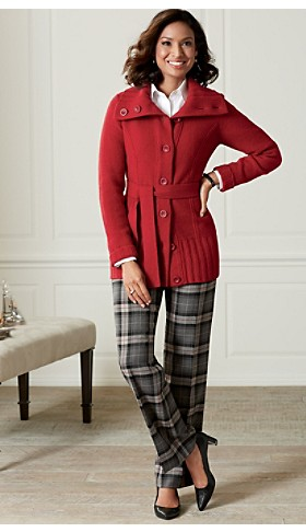 Cardi Sweater Coat And Plaid Trousers