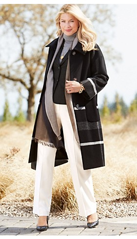 Long Engineered Plaid Coat