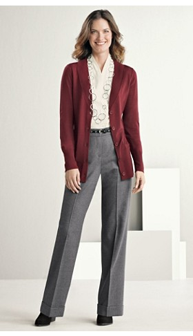 Merino Cardigan And Cuffed Trousers