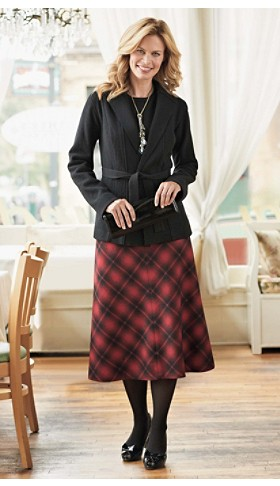 Boiled Wool Sweater Jacket And Bias Plaid Skirt