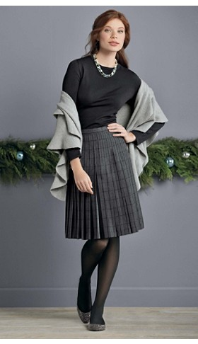 Windowpane Boucle Reversible Skirt