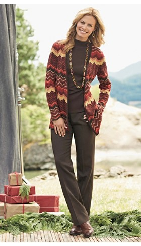 Flame Stitch Wrap Cardigan