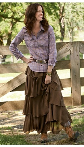 Ranch Hand Plaid Snap Shirt And Skirt