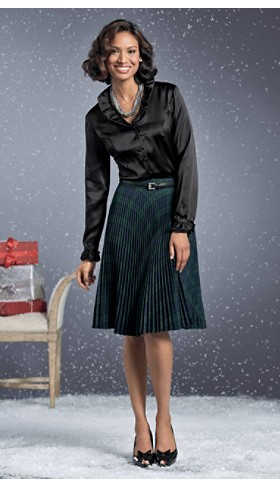 Ruffle-neck Silk Blouse And Pleat Skirt