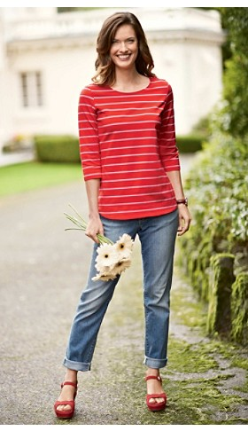 Boater Tee And Boyfriend Slim Jeans