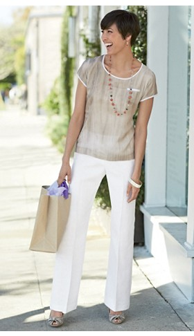 Silk Shell And Linen Pants
