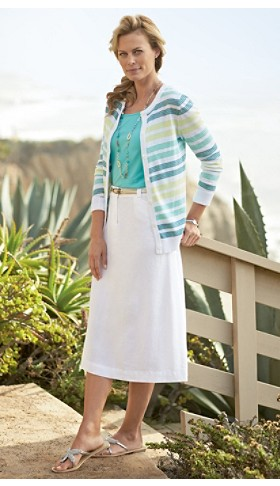 Summer Stripe Cardigan And Key Largo Skirt