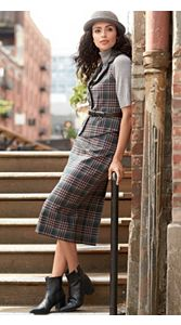 Holiday Plaid Vest And Skirt