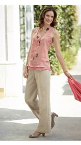 Chiffon Tank Top And Linen Pants