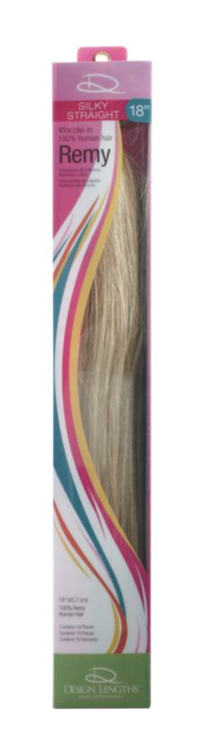 "A product thumbnail of Design Lengths Remy Straight Clip-In 18"" Light Blonde"