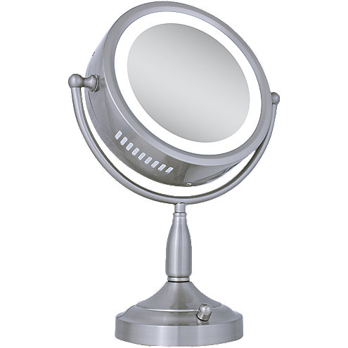 zadro 8x 1x satin nickel lighted round vanity mirror. Black Bedroom Furniture Sets. Home Design Ideas
