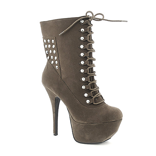 Dollhouse Women's Frisky High Heel Bootie Taupe High Heel Boots