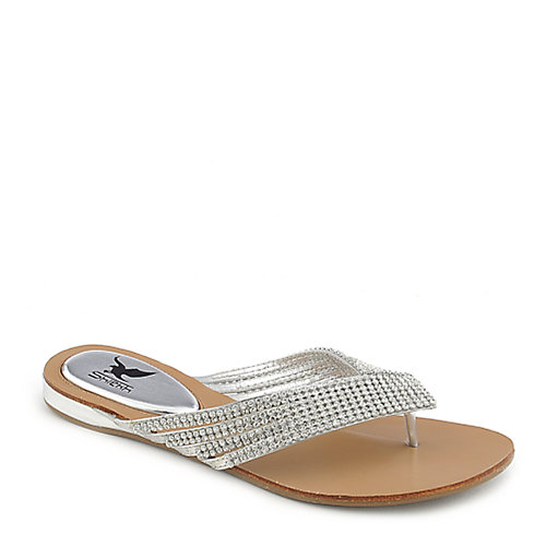 Shiekh Kylie-09 Jeweled Thong Sandals Silver Jeweled Sandals