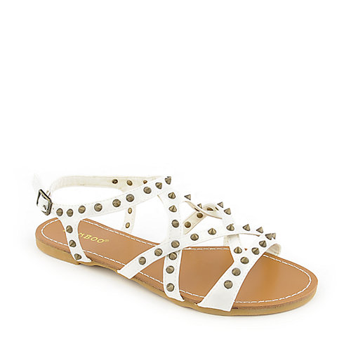 Bamboo Morris-61 White Slingback Sandals