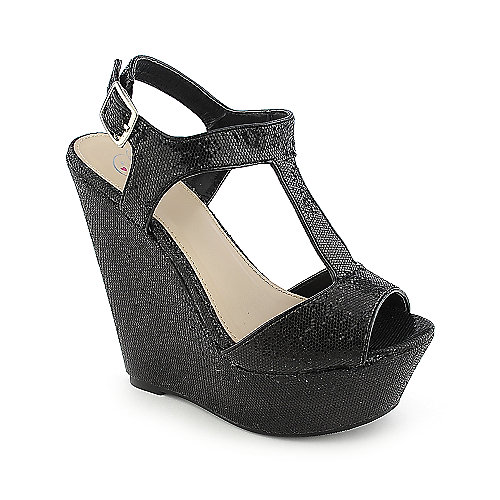 Delicious Idion-S Black Glitter Shoes