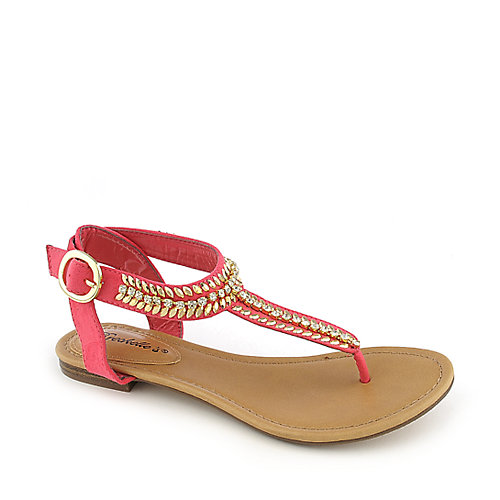 Breckelle's Stacy-43 Thong Sandals Pink Jeweled Sandals