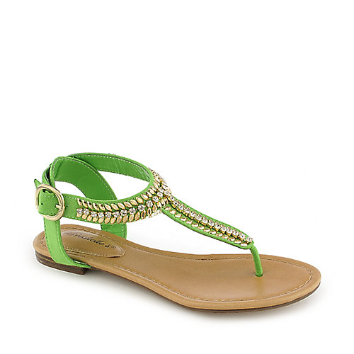 Breckelle's Stacy-43 Thong Sandals Green Jeweled Sandals