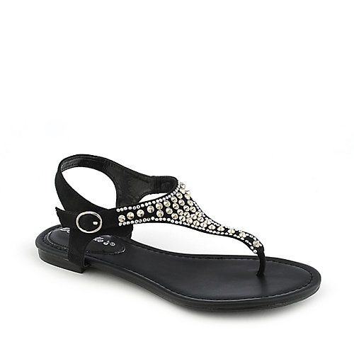 Breckelle's Sunny-03 Thong Sandals Black T-Strap Sandals