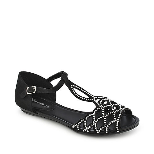 Breckelle's Ronda-03 Casual Open Toe Shoe Black Jeweled Sandals