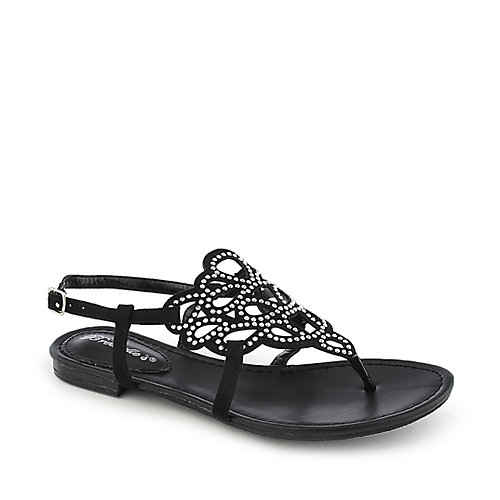 Breckelle's Sunny-02  Black Jeweled Sandals