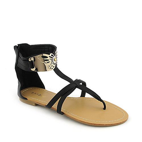 Bamboo Grayson-04 Black T-Strap Sandals